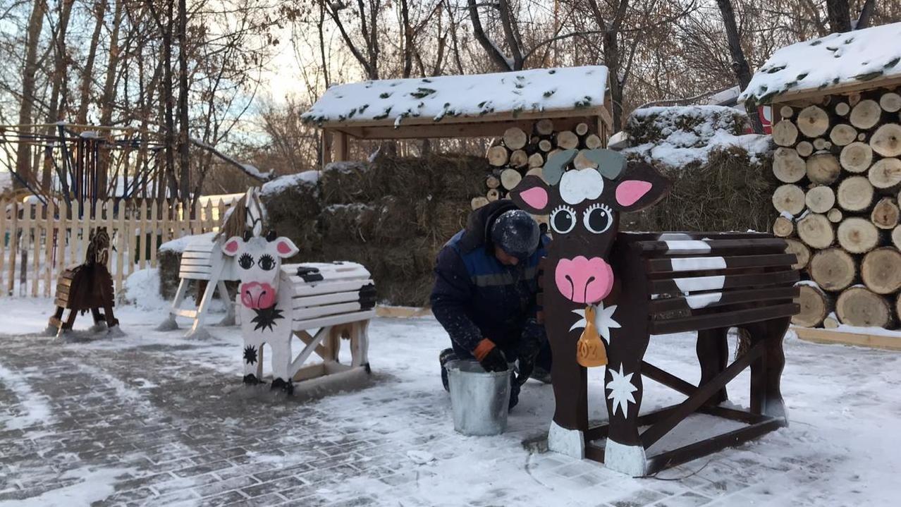 Фотозона Новогодняя ферма, фото пресс-службы акимата Карагандинской области